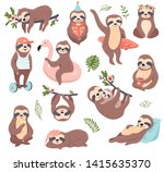 cute sloth set  funny vector... | Shutterstock .eps vector #1415635370