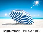 summer umbrella of white and... | Shutterstock . vector #1415654183