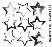 set of grunge star brush... | Shutterstock . vector #141566593
