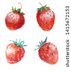 strawberry. set of four... | Shutterstock . vector #1415672153