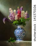 Still Life With Flowers Lupine...