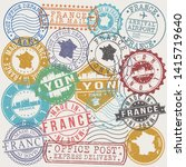 lyon france set of stamps.... | Shutterstock .eps vector #1415719640