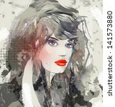 woman face. hand painted... | Shutterstock . vector #141573880