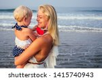 Happy Mother In White Dress...