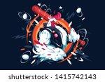 cartoon cool rooster vector... | Shutterstock .eps vector #1415742143