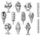 vintage ice cream. sketch... | Shutterstock .eps vector #1415793023