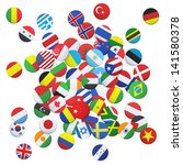collection of flag button...