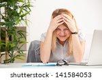 mature woman with headache... | Shutterstock . vector #141584053