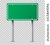 realistic green traffic sign on ... | Shutterstock .eps vector #1415849096
