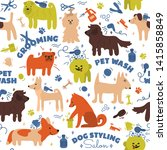 Stock vector pattern with different breeds of dogs pet care tools styling washing grooming salon hand draw 1415858849