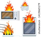 fire on the stove. burning... | Shutterstock .eps vector #1415865179