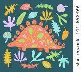 cute dinosaur color hand drawn... | Shutterstock .eps vector #1415893499