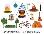 set of symbols of hiking green... | Shutterstock .eps vector #1415915129