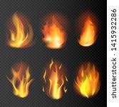 realistic fire flames set on...   Shutterstock .eps vector #1415932286