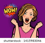 sexy surprised woman. wow ... | Shutterstock .eps vector #1415983046