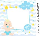 Stock vector card design with boy baby shower card 1416000173