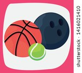 basketball bowling tennis ball... | Shutterstock .eps vector #1416021410