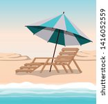 summer and vacation chair design | Shutterstock .eps vector #1416052559