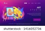 female artist at easel teaching ... | Shutterstock .eps vector #1416052736
