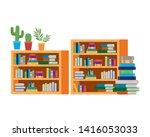 shelving with books in white... | Shutterstock .eps vector #1416053033