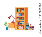 shelving with books and wooden... | Shutterstock .eps vector #1416055700