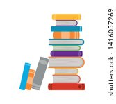 stack of books on white... | Shutterstock .eps vector #1416057269