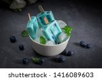 blue popsicles with blueberries ... | Shutterstock . vector #1416089603