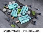 blue popsicles with blueberries ... | Shutterstock . vector #1416089606