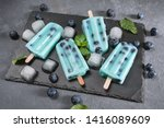 blue popsicles with blueberries ... | Shutterstock . vector #1416089609