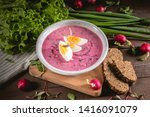 vegetable cold soup with beet ... | Shutterstock . vector #1416091079