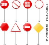 stop signs and traffic sign... | Shutterstock .eps vector #1416093836