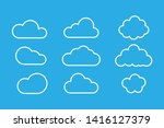 set of clouds isolated on blue... | Shutterstock .eps vector #1416127379