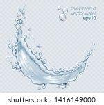 transparent vector water splash ... | Shutterstock .eps vector #1416149000