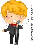 Illustration of Little Boy using a Retro Mic for Singing - stock vector