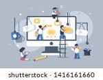 team of people building or... | Shutterstock . vector #1416161660