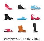 various shoes flat vector...   Shutterstock .eps vector #1416174830