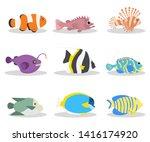 exotic ocean fish flat vector... | Shutterstock .eps vector #1416174920