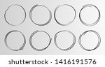 hand drawn circles sketch frame ... | Shutterstock .eps vector #1416191576