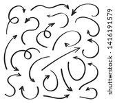 super set hand drawn arrows ... | Shutterstock .eps vector #1416191579