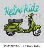 hand sketched scooter retro... | Shutterstock . vector #1416201683