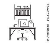 office workplace furniture desk ... | Shutterstock .eps vector #1416229916