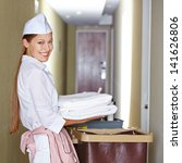 smiling hotel maid with fresh...   Shutterstock . vector #141626806