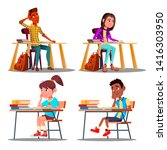 characters bored pupils during... | Shutterstock .eps vector #1416303950