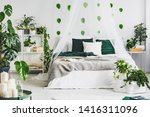 White Bedroom Interior With...