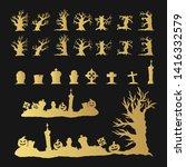golden halloween silhouettes of ... | Shutterstock .eps vector #1416332579