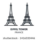 eiffel tower. france paris... | Shutterstock .eps vector #1416333446