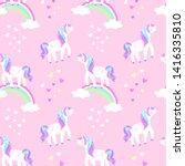 cute unicorn on a rainbow... | Shutterstock .eps vector #1416335810