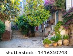 French courtyard. Sunny Cozy French courtyard with flowers in tubs and flowers on the walls