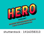 Stock vector comics super hero style font alphabet letters and numbers vector illustration 1416358313