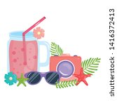 camera photographic with juice...   Shutterstock .eps vector #1416372413
